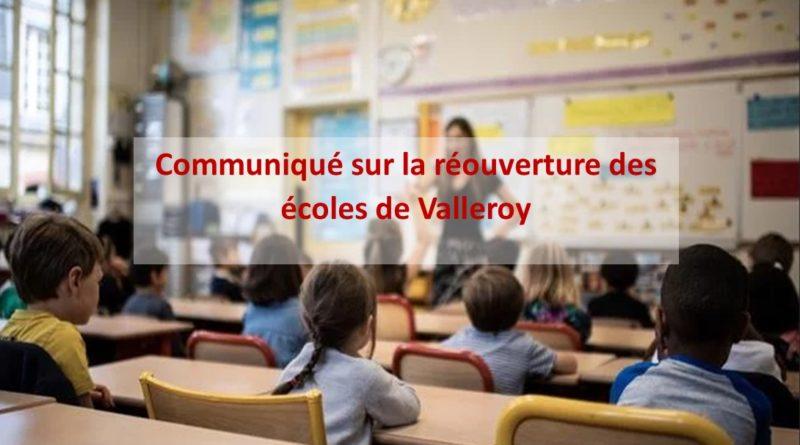 Réouverture des écoles de Valleroy